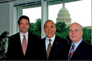 L-R:  Peter Robinson (USCIB); Angel Gurría (OECD); and Charles Heeter (former BIAC Chairman and USCIB board member); at a 2006 USCIB reception welcoming  Gurria as new OECD S-G).