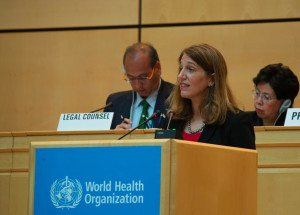 U.S. Health and Human Services Secretary Sylvia Burwell addressed the World Health Assembly in Geneva. WHO Director General Margaret Chan is at right.