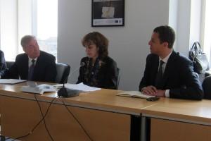 L-R: Commissioner Karmenu Vella (European Union), Norine Kennedy (USCIB), Ariel Meyerstein (USCIB)