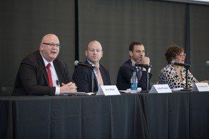 L-R: Brent Wilton (Coca-Cola), James Plunkett (U.S. Chamber of Commerce), Ariel Meyerstein (USCIB), Linda Kromjong (IOE)