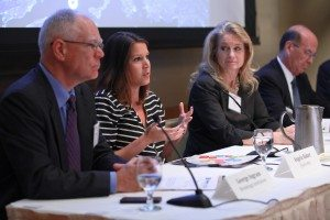 L-R: George Ingram (Brookings), Angela Baker (Qualcomm), Terri Bresenham (GE), Mike Eckhart (Citi)