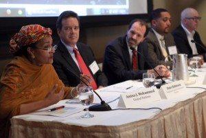 L-R: Amina Mohammed (UN), Peter Robinson (USCIB), Alex Thier (USAID) and Shawn Miles (MasterCard).