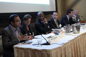L-R: Adeeb Mahmud (FSG), Karen Newman (UNDP), Gilbert Houngbo (ILO), Mario Ottiglio (IFPMA), Carlos Cornejo (MasterCard) and Claus Stieg Pederson (Novozymes)