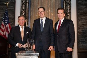 "L-R: Harold ""Terry"" McGraw III (McGraw Hill Financial), Randall L. Stephenson (AT&T) and Peter M. Robinson (USCIB)"