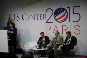 Norine Kennedy (USCIB) speaks at an event at the U.S. Center about using trade to jump start Paris action.