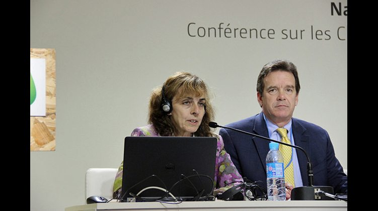 Norine Kennedy and Peter Robinson speak at a press conference on December 9 at COP21 in Paris.