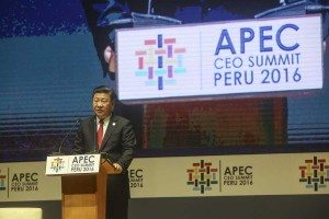 Chinese President Xi Jinping addresses the CEO Summit.