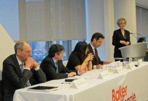 L-R: Edward Turan (Citigroup), Daniel Schimmel (Foley Hoag), Samaa Haridi (Hogan Lovells), Grant Hanessian (Baker & McKenzie), Claudia Salomon (Latham & Watkins)
