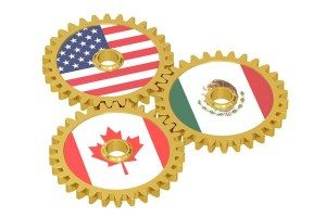 North American Union, NAU concept on a gears, 3D rendering