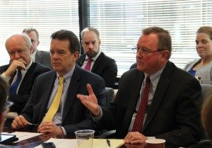 Rob Mulligan, Senior Vice President, Policy and Government Affairs addresses OECD and USCIB members, alongside USCIB President and CEO Peter Robinson (center) and Rick Johnston, Citi (left)